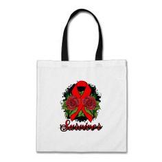 Stroke Cancer Survivor Rose Grunge Tattoo Canvas Bag by giftsforawareness.com #StrokeAwareness #StrokeAwarenesstotebags