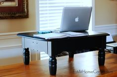 I'm so happy with this stand up desk we made! It's cheap. It looks nice. It's easy to move out of the way when I want to sit down. In short, (or tall or average), this is the perfect solu...