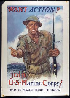 """Today in 1945: The U.S. flag is raised by Marines on Iwo Jima at the crest of Mt. Suribachi. This 1942 recruitment poster was designed by James Montgomery Flagg, who also designed the Uncle Sam """"I Want You for the U.S. Army"""" poster."""