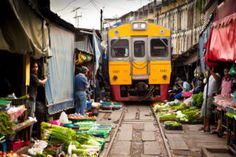 A Remarkable Sight To Behold, Every Day Multiple Trains Plow Right Through The Middle Of This Market In Thailand. Trans Siberian Railway, Commuter Train, Thailand Photos, Thing 1, Ferrat, Reasons To Live, Train Travel, Bangkok Thailand, Hanoi