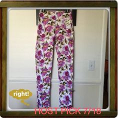 "NWT slightly stretch floral skinny pants Got as a gift. Too small for me. Beautiful & smooth floral comfy slightly stretch. Side zip shown in the photo. Length from waist to bottom 44"". Rise 9 3/4"". Waist Mark size S w/c has 30"" relax measurement. Hips 37""Relax measurement. Thigh 11 1/4"" across.relax measurement. Hem 6""across relax measurement. MUST HAVE! Ateliers Rare Toggery (Essay Collection) Pants Skinny"