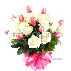 Arreglos con Flores Tulipanes Rosas Pink Elegance !  Envia Flores