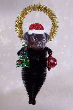 Pug black Christmas Ornament Feather Tree by TreePets on Etsy, $12.95