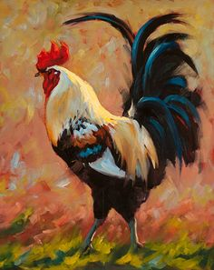 Lord of Luckenbach by Cheri Christensen, Oil, 20 x 16 Rooster Painting, Rooster Art, Chicken Painting, Chicken Art, Chicken Drawing, Beautiful Chickens, Beautiful Birds, Simple Oil Painting, Painting & Drawing