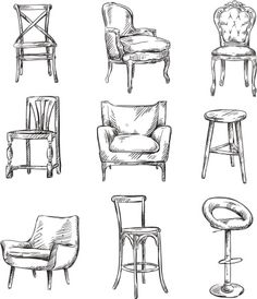 Tips And Tricks, Room Sketch, Gamer Chair, Hand Painted Chairs, Interior Design Sketches, Drawing Interior, Macrame Chairs, Chair Drawing, Drawing Furniture