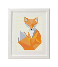 Cool Fox! Geometric cross stitch pattern funny Needlepoint crossstitch pattern animal crosssing PDF Fox Cross Stitch Pattern modern  ✽ ✽ ✽