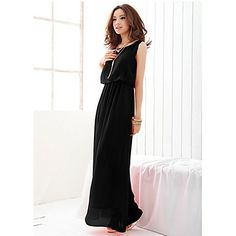 Women s Chiffon Bohemian Round Collar Sleeveless Swing Maxi Dress 92622436c7e