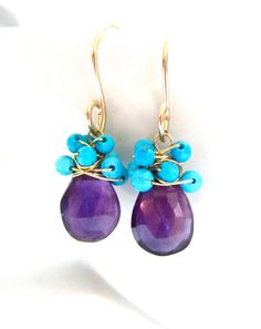 Beautiful Purple and Blue! Amethyst and Turquoise Earrings in 14k Gold,  Vibrant Summer Colors!