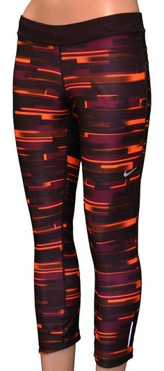 Kinda like these -NIKE Women's Dri-Fit Printed Relay Running Capri  Pants-Purple/orange-Medium: Clothing