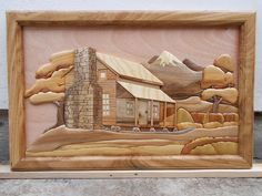 wood cabin intarsia by carkralj. on - My Wood Den Woodworking Basics, Woodworking Crafts, Woodworking Bench, Woodworking Shop, Wood Turning Projects, Wood Projects, Intarsia Wood Patterns, Wood Mosaic, Wooden Crosses