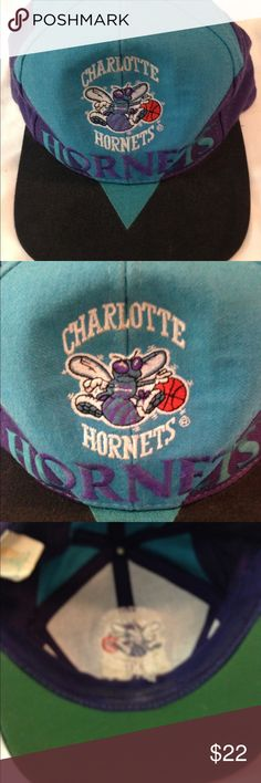 Vintage Charlotte Hornets Snapback Hat Vintage Charlotte Hornets Snapback Hat  in good preowned condition. Slight fading, see pics! One size blue, purple and black in color. Vintage Accessories Hats