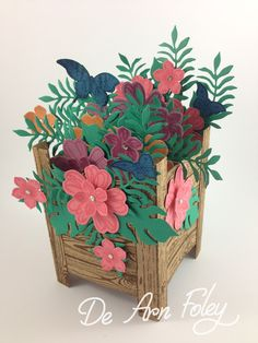 Last night I held a Planter Box Card Class for a small group of ladies. Everyone enjoyed themselves and even though the proje. Z Cards, Paper Cards, Cute Cards, Stampin Up Cards, Flower Boxes, Flower Cards, Paper Flowers, Box Cards Tutorial, Pop Up Box Cards