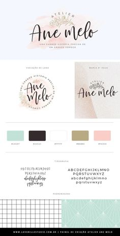 Atelier Ane Mello – visual identity, business card shop atelier shop iluria crafts For other … Graphic Design Fonts, Typography Poster Design, Site Web Design, E Design, Identity Design, Visual Identity, Watercolor Branding, Photography Logos, Logo Design Inspiration