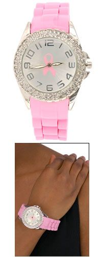 Pink Ribbon Double Rhinestone Silicone Watch at The Breast Cancer Site