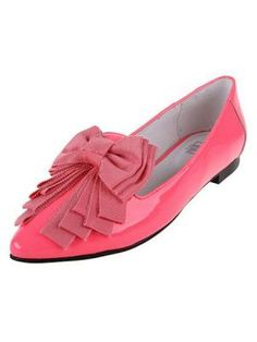 Real Cow Leather Fluorescent Colors Pointed Bow shoes | Choies