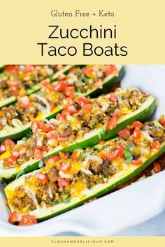 These Taco Zucchini Boats are easy to make and a fun way to put a healthy twist on taco night! Made with beef and cauliflower rice, they're gluten free, low-carb, and keto. Check out the video to see how to make this kid-friendly meal! Low Carb Tacos, Healthy Tacos, Zucchini Taco Boats, Zucchini Boat Recipes, Crunchwrap Supreme, Nacho Bar, Healthy Dinner Recipes, Summer Recipes, Healthy Meals