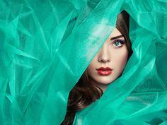 Fashion photo of beautiful women under turquoise veil - Fashion photo of beautiful women under turquoise veil. Beauty portrait. Perfect makeup. Eyelashes. Lips. Cosmetic Eyeshadow