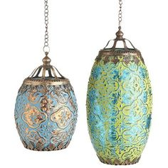 "Brighten up your room's decor with our Bohemian-inspired lantern. This painted mercury glass lantern holds a votive candle and will set the mood for a romantic evening.$9.95-$14.95 Details Blue, green Blue: 4""Dia x 6.15""H Green: 4.75""Dia x 9.50""H Glass, iron"