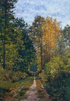 """Wooded Path"" ・ by Claude Monet ・ Completion Date: 1865 ・ Style: Impressionism ・ Genre: landscape ・ Technique: Oil on Canvas Claude Monet, Monet Paintings, Landscape Paintings, Landscapes, Renoir, Artist Monet, Artist Art, Wood Path, Forest Art"