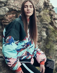 Marine Deleeuw wears Emilio Pucci bomber jacket and pants for Harper's Bazaar Mexico magazine August 2016