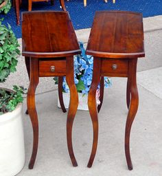 Hard-to-Find Solid Wood Antique Neo-Classical Bergère Regency End Tables in Excellent Condition.  The distinctive styling of these remarkable antique end tables and a touch of classic refinement and sophistication to any fine home.  These authentic antique pieces are in excellent condition and also feature a small drawer.  29 x 12 x 27.  $350 for the pair.