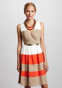 ELIZA JTaupe/Ivory/Orange Surplice Belted Colorblock Dress
