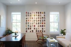 This photo wall using inexpensive white Ikea frames would make any college apartment look instantly classy.