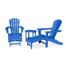 POLYWOOD® South Beach Ultimate Adirondack 3-Piece Set - PWS173-1 | POLYWOOD® Official Store Pool Furniture, Best Outdoor Furniture, Outdoor Seating, Outdoor Chairs, Wood Lumber, Palm Coast, Pacific Blue, Patio Design, Club Chairs