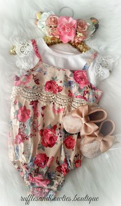 Adorable floral print rompers are perfect for little girls at any occasion. It's picture-perfect for birthdays, baby photos or just a day out at the park. Featuring a vintage lace lining at the bodice