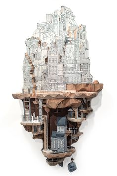 Clever Combinations of Illustrations and Wood Carvings Create Extraordinary Miniature Cities - My Modern Met