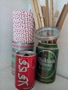 Gruenezwerge: Dosen- Upcycling Diy Blog, Recycling, Arizona Tea, Drinking Tea, Coffee Cans, Upcycle, Canning, Hang In There, Clearance Toys