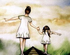 """Mother and daughter """"our path"""" art print white version, gift idea mother's day Mother Daughter Quotes, Mother And Child, To My Daughter, Daughters, Mother Gifts, Gifts For Mom, Tattoo Mama, Claudia Tremblay, Illustration Photo"""