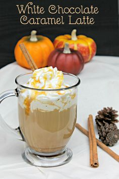 Fall is one of my favorite times of the year because it means cool weather and hot coffee drinks! One of my favorites is a White Chocolate Caramel Latte .