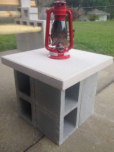 Classic Cinder Block Lamp Rest For Entrance