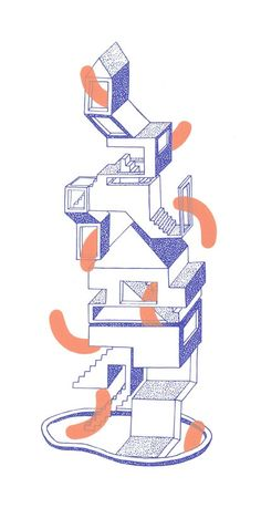 Young German artist Tali Bayer, based in Leipzig, is particularly inspired by natural and architectural structures when she creates her illustrations and collages Monochrome or faded tones palettes are employed to draw surreal staircases, blooming p - # Architecture Collage, Architecture Graphics, Architecture Drawings, City Collage, Grafik Design, Collages, Looks Cool, Graphic Illustration, Medical Illustration