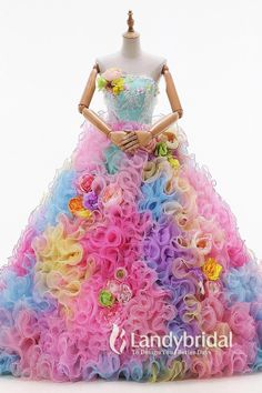 gown with rainbow of ruffles