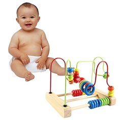 Montessori Baby Toys Classic Large Wire Beads Maze Wooden Toys Around The Mirror Child Gift Early Learning Skills From Funny Game * Amazon most trusted e-retailer #DisneyBoardGames