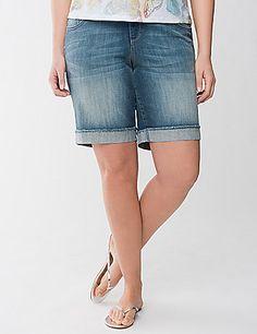 Raw Edge Bermuda Short by Lane Bryant Trendy Plus Size Clothing, Plus Size Outfits, Modest Shorts, Fashion Outfits, Womens Fashion, Fashion Trends, Professional Women, Raw Edge, Summer Wear
