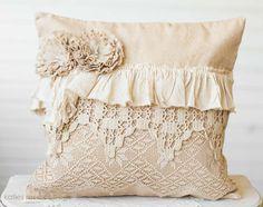 Tea Dyed Canvas Vintage Lace Pillow