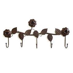 Duolaimi Creative Home Decoration Iron Rose Coat Rack with 5 Hooks 1pcs (4...