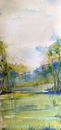 River Waters Watercolor Robin C. Watercolor Projects, Watercolor Landscape, Abstract Watercolor, Abstract Landscape, Watercolor Paintings, Watercolors, Guache, Water Art, Amazing Art