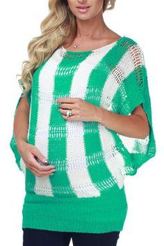 Green White Striped Maternity Sweater