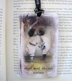 Hugs and Kisses Bookmark  Vintage Inspired    with by KingdomKards,see link for more info.