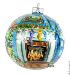 """Купить Новогодний шар """"Санта"""" ручная круговая роспись. Единственный экземпляр - разноцветный, новогодний шар"""