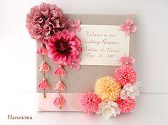 和風ウェディングウェルカムボード*華結*【薄紅】 / 和装・和風ウェルカムボード by Harunowa フラワー Wedding Welcome Board, Welcome Boards, Wedding Table, Diy Wedding, Dream Wedding, Wedding Album, Wedding Cards, Japanese Wedding, Crafts To Do