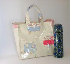 Oilcloth Lunch Tote Bag  Retro Caravan Print by OneLeggedGoose