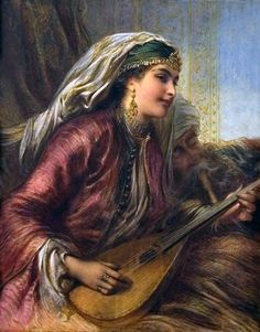 Egron Sellif Lundgren (Swedish, 1815-1875). A girl playing the lute