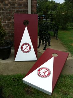 New  ALABAMA CRIMSON Tide Birch Cornhole boards with 8 bags, , Bean Bag Toss Game, ACA Reg. Size 2x4 ft. on Etsy, $179.00