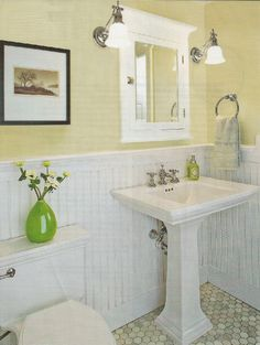 small bathroom makeovers - love the colors and floor on this