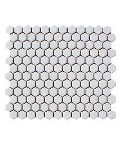 For floor with light grey grout // Shapes Hexagon Matt White mosaic Toppstiles per Hexagon Mosaic Tile, White Mosaic Tiles, White Wall Tiles, Kitchen Wall Colors, Kitchen Wall Tiles, Room Tiles, Loft Bathroom, Bathroom Ideas, Bathroom Tiling